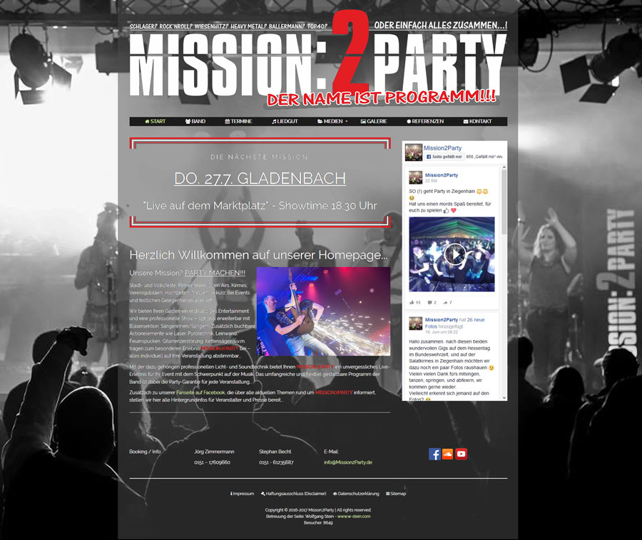 webmaster w stein com mission2party screenshot